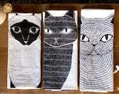 Katze Tee Bundle, 3 Katzen Geschirrtücher, Cat Lover Küche Dekor, Katze Geschirrtuch, Katze Küche Handtuch, Katzendame Geschenk, Geschenk für Sie
