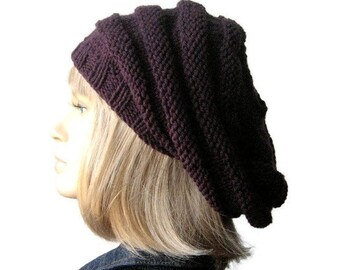 Knit Slouchy Beanie,Mulberry Hand Knit Hat Beehive Beret, Vegan Hat Knitted Hat, Dark Purple Knit Beret Winter Hat
