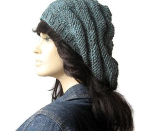 Teal Blue Hand Knit Hat, Beehive Beret, Knit Beret, Fall Fashion, Womens Accessories, Slouchy Beanie, Teal Blue Hat, Womens Hat