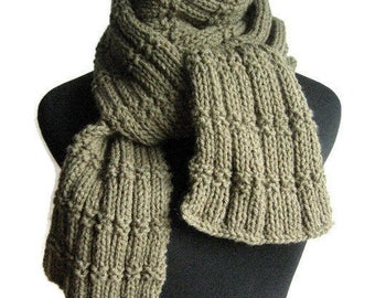 Hand Knit Scarf - Made to order - Long Knit Scarf, Vegan Men Scarf, Men Accessories, Womens Scarf