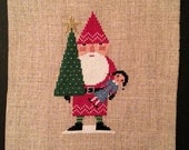 Santa Cross Stitch Finished Christmas Cross Stitch Red Santa Birds of a Feather