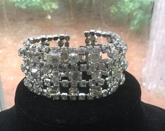 Vintage Wide Rhinestone Wedding Holiday Bracelet
