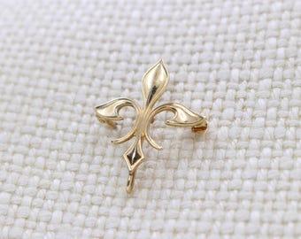 Vintage 14K Gold Fleur De Lis Brooch Pin