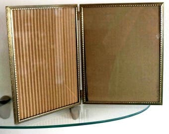 Vintage Picture Frame Metal Gold Finish Double Bi Fold Hinged Elongated Bead Floral 8 x 10 1960s
