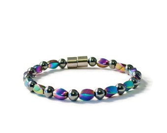 Black High Power and Rainbow Magnetic Bracelet, Jewelry for Pain
