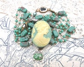 st patricks day assemblage necklace irish lass cameo Erin go Bragh upcycled vintage jewelry