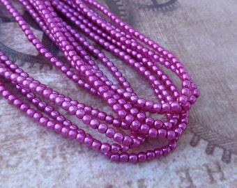 free uk postage Strand of 150 Faux Pearl Beads Mini Glass Pearls Hot Pink 2mm