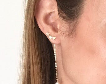 Gold star stud and pearl drop earrings. 3 in 1 design! Minimalist. Versatile. Long. Night out. Classic. Freshwater pearl