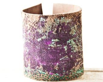 Leather Jewelry Wrist Cuff Bracelets for Women Purple