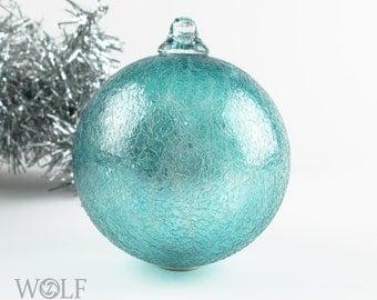 Blown Glass Christmas Ornament Suncatcher Teal Blue Green Frost Ornament Bulb