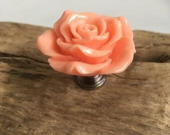 Orange Pink Flower Drawer Knobs - Rose Cabinet Knobs  (RFK14-09)