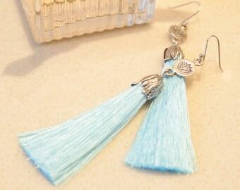 Aqua Tassel Earrings, Boho Earrings, Lotus Silver Earrings, Aqua long Earrings, Asian style earrings, Tassel Jewelry, Beach Jewelry