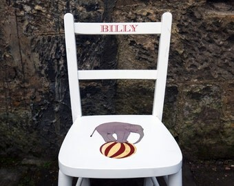 Child's personalised vintage wooden chair with your child's name upcycled and custom made to order - circus theme