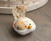 Floral Bird Pincushion Floral Pin Keep Small Pin Cushion Brown Bird Handmade Pincushion