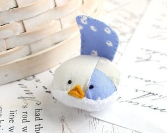 Periwinkle Bird Pincushion Floral Pin Keep Small Pin Cushion Floral Handmade Pincushion