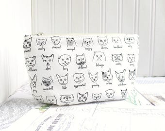 Cute Cats Cosmetic Bag Makeup Bag Black and WHiteZipper Pouch Organizer Funny Kitties Modern Print
