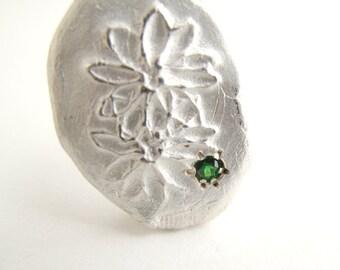 Green Garnet Necklace Sterling Silver Pendant with Natural Tsavorite Green Garnet Jewelry Flower Pendant