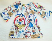 Wonder Woman dress, girl dress, pageant dress, flannel dress, super hero dress, wonder woman