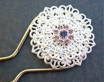 Swarovski Crystal Hair Forks Silver Filigree Bridal Wedding Accessories Purple Mauve Lilac dspdavey For Her Handmade Floral Botanical Swirls