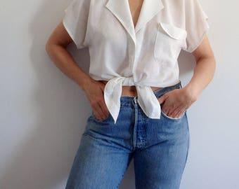White Blouse Vintage Sheer Summer Gauze