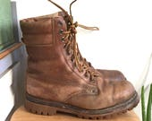 Leather Work Boot // Made in Poland // Mens Size 9 1/2 // Vintage