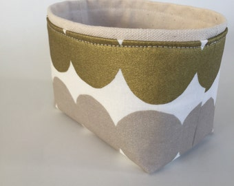 marimekko neutral metallic dot mini fabric storage bin //  modern basket