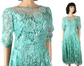 80s Prom Dress Jrs M Vintage Long Aqua Blue Green Shiny Floral Lace Satin Gown Free US Shipping
