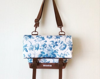 SALE, Canvas Crossbody Bag, Crossbody Bags for Travel, Floral Foldover Crossbody bag, Messenger Bag, Shoulder Bag, Hip Bag, Fold Over
