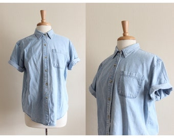 Vintage 1990s Short Sleeve Pale Blue Denim Button Down