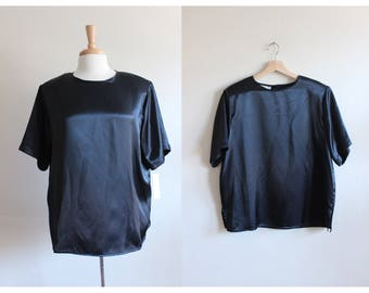 Vintage Oversize Black Satin T-Shirt Top