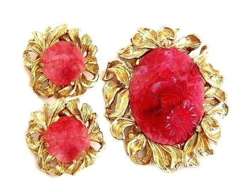 Napier Molded Glass Flower Brooch and Earring Set