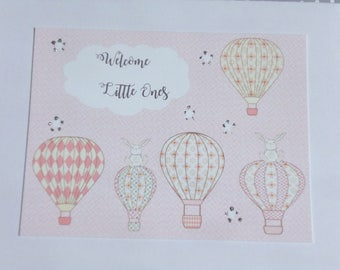 Twin Babies - Card for twins - Twins Baby Card - Hot Air Balloon Card - Baby Shower cards - Twin Girls - Twin Boys - tc1