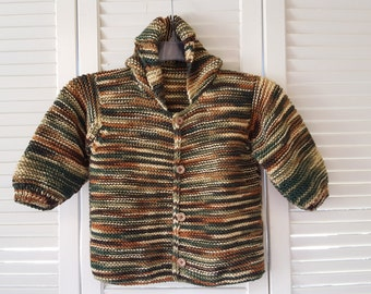 Child Size 2 Yr Hand Knitted Button Up Hoodie Sweater/ Unisex/ Boys/ Girls / Handmade Clothing For Kids/ Browns And Greens/ Woodsy Colors