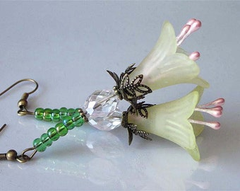 Lucite Flower Earrings Large Yellow Lily In Antiqued Brass Faceted Crystal Woodland Floral Earrings Victorian Dangle