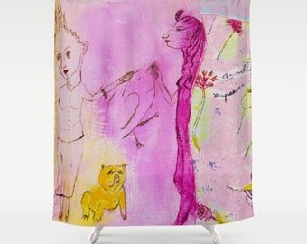 Shower Curtain Art, home decor, from painting girls, bathroom decor, polyester curtain, colourful, blue summer, spanish art