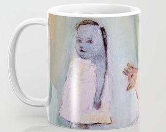 Mug Art, coffee mugs ceramic. Home drinkware Art, Art breakfast mugs, gray girl bird