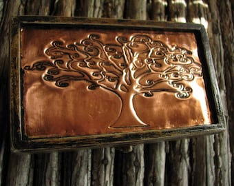 WOOD GIFT BOX/ Embossed Copper design/  for Weddings/ Special Occasions/ Trinkets/ Jewelry/ Beautiful Accessory for Any Room