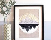 Mountain Reflections Original Embroidery Artwork - 14x11