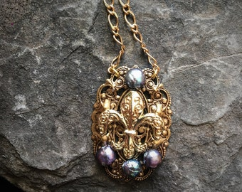 French Fleur De Lis Statement Necklace with Pearls