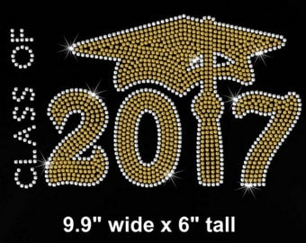 Class of 2017 iron on rhinestone transfer - your color choice