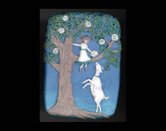 Dairy Goat Jewelry: Girl In the Magnolia Tree Pin or Pendant Original Bas-Relief Sculpture Polymer Clay. Blue Light Brown Green White 4311