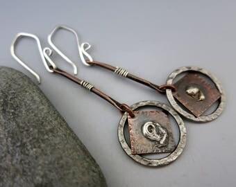 """Silver & Copper Earrings, 2 1/2"""" Long Dangles, Ready to Ship"""
