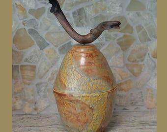 Ceramic Jar.  Ceramic Container.  Inspired by Nature Urn. Drift Wood.  Zen Ceramics.  Mixed Media. Ceramic Jar. Handmade Pottery.