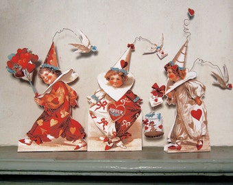 Printable Valentines Kids Teacher Student Digital Downloads - 3 Printable Stand Up Paper Dolls And Labels For Valentine Party Decor CS71V