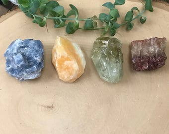 Calcite Crystal Set - Chakra Set - Blue Green Honey Calcite - Calcite Collection - Pocket Rocks and Minerals - Home Altar - Bohemian Decor