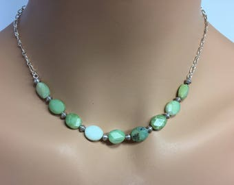 Peruvian Blue Opal Necklace in Sterling Silver