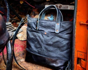 Tall Waxed Canvas Zip Top Tote with Leather Bottom, Grab Handles, and Adjustable Cross Body Strap