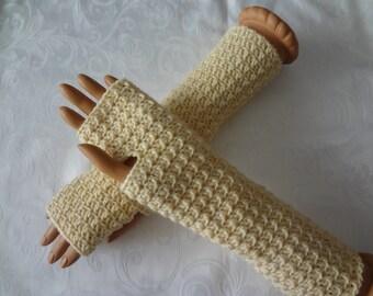 Crochet Finger Less Ivory, White, Cream  Arm Warmers, Finger less Gloves, Fingerless Winter, Warm