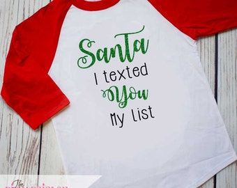 Girls Christmas Shirt | Santa Shirt | Girls Raglan Shirt | Kids Raglan | Kids Christmas Shirt | Girls Santa Shirt | Kids Holiday Shirt