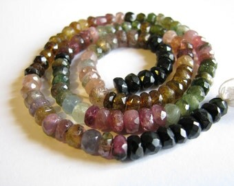High quality Tourmaline large faceted rondelle, multi colored, 14.5 inch full strand, 5.5mm (w28)